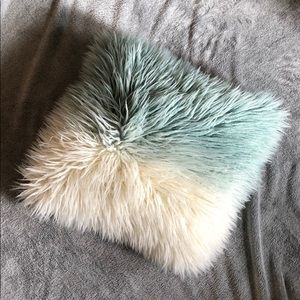 Blue and White Faux Fur Throw Pillow